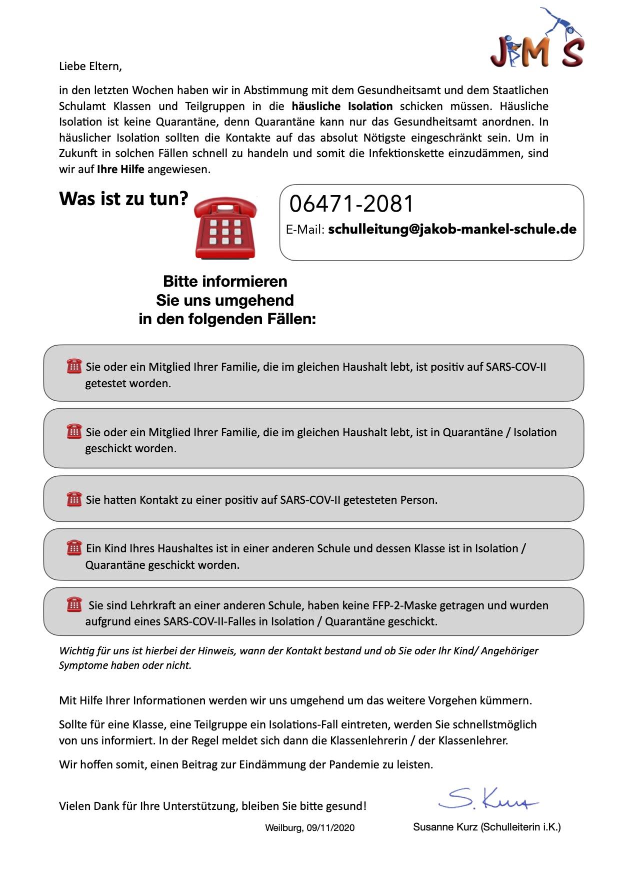 Elternbrief-Infos November 2020